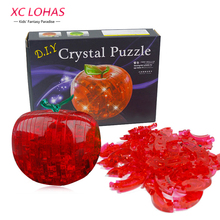 1pcs Apple Shape Puzzles For Children Non-Luminance Adult Puzzle DIY Kids Puzzles 3D Crystal Puzzle Jigsaw Assembly Model(China)