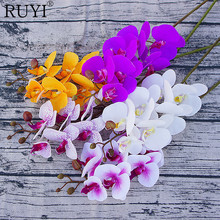 8pcs/Lot Real Touch Moth Orchid Artificial silk Flowers Butterfly decoration Orchid for House Home Wedding Festival Decoration(China)