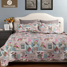 Naturelife Stamp Pattern Quilt Set Bedspread Bed Cover Quilted Bedding Set Duvet Cover Pillowcase Quilts Warm Coverlet Set(China)