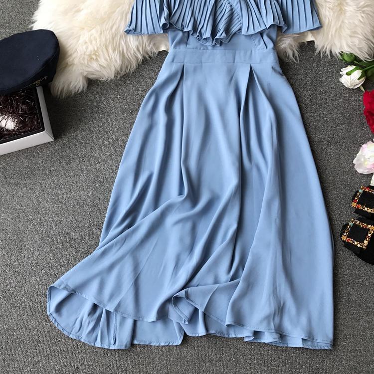 2019 Spring Women Chiffon Pleated Braces Sling Spaghetti Strap Goffer Long Dress Ladies Ruffles Empire Drapped Swing Slip Dress 182