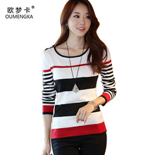 OUMENGKA New 2017 Spring Autumn women sweater casual Slim Red Black Stripes Blue Black Stripes S M L XL bottoming pullover