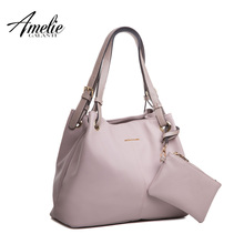 AMELIE GALANTI casual women shoulder bag fashion half moon solid casual handbags soft original design totes office lady 2017