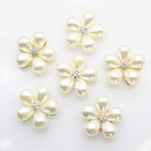 10pcs/set TWO COLOR 22mm Flower Alloy Buttons Pearl button wedding decoration Alloy Diamante Cryustal Diy Ribbon Bow Accessories(China)