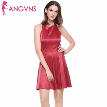 ANGVNS Vintage Red Satin Party Dress Women 2017 Tank Sleeveless Elegant Summer Cut Out Fit And Flare Vestidos Short Mini Dresses