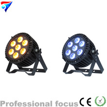 Free shipping 2pcs/lot Outdoor LED PAR 7x18W Flat Par Light,7LED RGBWA+UV Wash Lighting Effect,IP65 Dmx