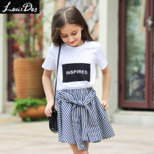 LouisDog girls short sleeve cotton tshirt children's white graphic tee tops teenagers Summer clothes size 6-16yrs