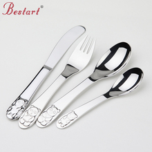 Kids Cutlery Set 18/10(304) Stainless Steel Cartoon Lovely Knife Fork Sets 1lot/4 piece Children Panda Flat ware Tableware Set(China)
