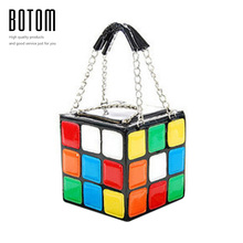 2016 new personality patchwork magic cube portable women's style day clutch Rubik's cube handbag