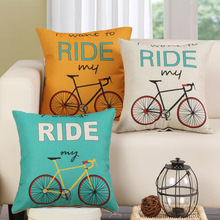 1Pcs Bicycle Bike Pattern Cotton Linen Throw Pillow Cushion Cover Home Decoration Sofa Bed Decor Decorative Pillowcase 40132(China)