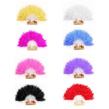 8 Colors Beautiful feather fan Square Dance goose feather folding fan Wedding Hand Fancy Dress Costume freeshipping