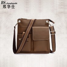 Postman Baotou Leather Shoulder bag Leisure Messenger bag Shop Men's Leather Bag Mens Leather Briefcase(China)