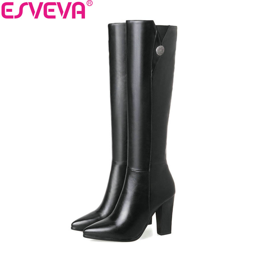 ESVEVA 2018 Sexy Ladies Over The Knee Boots Zipper Pointed Toe PU Square Heels Boots High Heels Women Long Boots  Size 34-43<br>