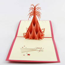 Pop Up Card Fireworks 3D greeting card congratulations card floral fireworks(China)