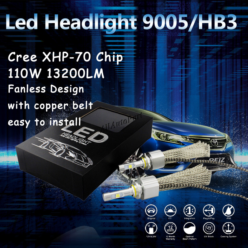1 Set H4 9003 HB2 110w 13200lm For C ree XHP70 H13 9004 9007 Car LED Headlight Kit High Low Dual Beam 6500K H7 H11 9005 9006 55W<br><br>Aliexpress
