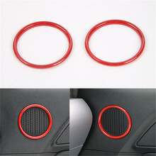 YAQUICKA 2Pcs/Set Interior Car Door Speaker Ring Sticker Decoration Cover Trim styling Smaller Type Fit For Ford Mustang 2015+(China)
