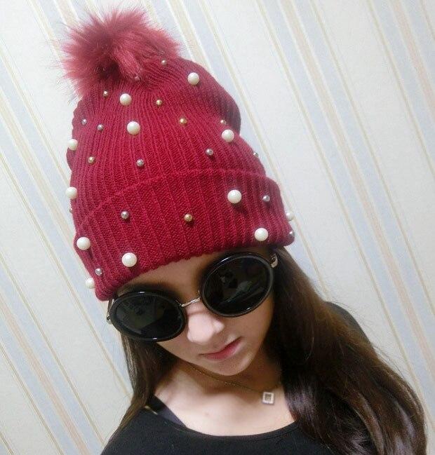 4 Colors Imitation Pearl Rivet Women Winter Hat Keep Warm Knitted Beanie Hat Fur Ball on Top Ballin Snapback Beanie Cap CP101Îäåæäà è àêñåññóàðû<br><br><br>Aliexpress