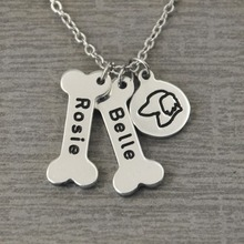 Dachshund Dog Necklace,Personalized Dog Bone Collar,Bones and Dog Breeds Print Collar,Custom Bones Charm