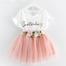 Fashion Kids Clothing Sets 2017Summer Baby Girls Clothes Graffiti Printing Sweatshirts+Casual Skirt 2Pcs Kids Clothes Girls Suit