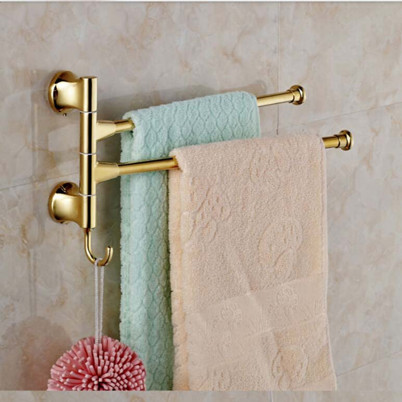 Morden Golden Bathroom Towel Rack Holders Swivel Towel Bars Golden Base Bars<br>