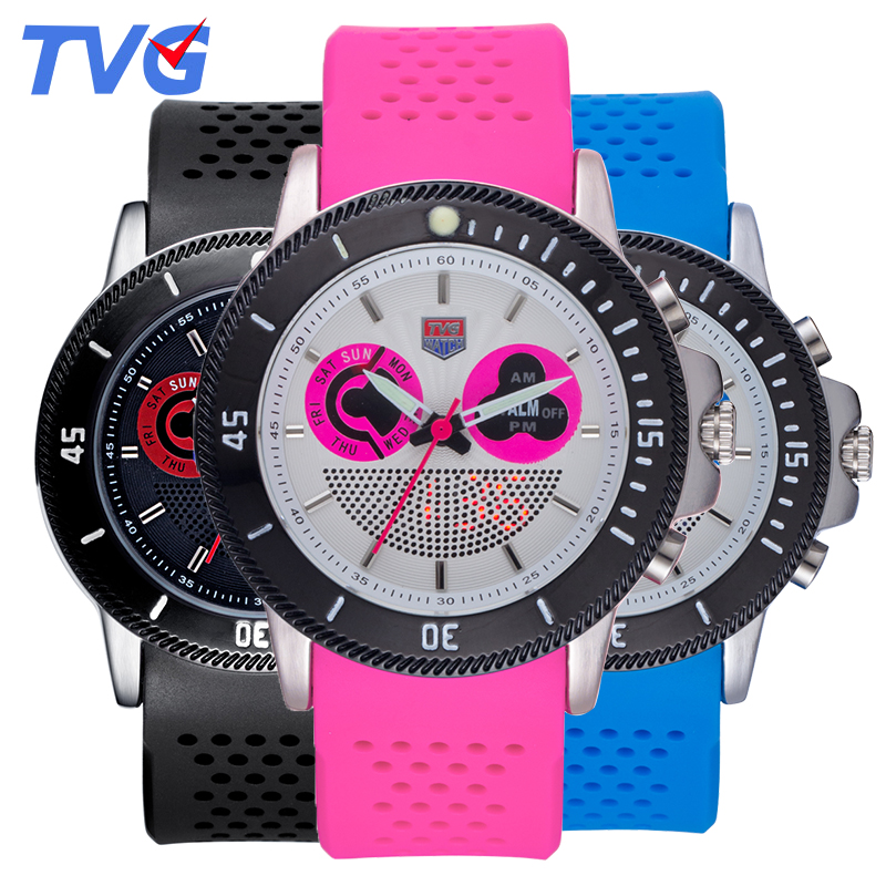 2017 TVG Brand Sports Multifunction Quartz Watches Lovers Silicone Strap Wristwatches Multicolor Optional Student Watch<br><br>Aliexpress
