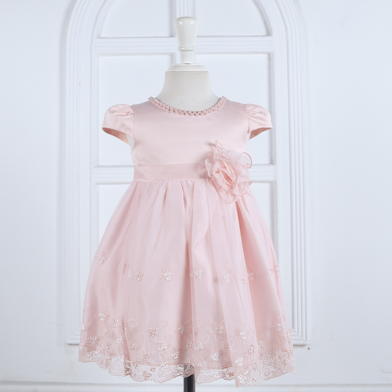 Nimble Lolita Style Baby Girls Dress Flower Beading Mid-Calf O-neck Princess Dress Beige Pink&amp;Orange Two colors Available<br><br>Aliexpress
