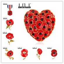 (12 pcs/lot )Free Cheap Wholesale Lot Very Beautiful Sparkl Red Poppy Brooch Pins UK Remembrance Day
