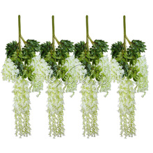 12pcs/lot 105cm Artificial Flower Hanging Plant Silk Wisteria Fake Garden Hanging Plants Wedding Decoration Home Garden Products