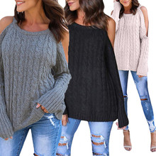 Very popular Newest Cold Shoulder Soild Color Knitted Long Sleeve Women Pullovers Sweaters Cotton Blend 2017 Vicky(China)
