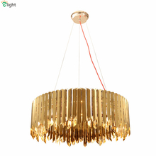 Luxury Round Plate Metal Led Pendant Light Lustre Gold / Silver Stainless Steel E14 Pendant Lamp Luminaire Lampapras For Vila