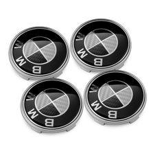 4PCS BMW Black Carbon Fiber 68mm Wheel Center Caps Badge Emblem BMW E36 E38 E39 E46 E53 E60 E61 E63 E64 E65 E66 E70 E71 E72 E82(China)