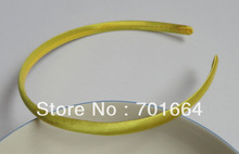 10PCS 10mm Yellow Satin Fabric Covered Plain Plastic Hair Headbands,kids boutique hair accessories stuff(China)