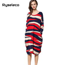 Ryseleco Women Autumn Winter Super Large Loose Strip Geometric Knitted Midi Casual Dresses Oversize Big Hit Color Basic Vestidos(China)