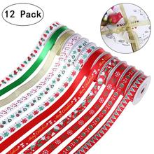 12Pcs BESTOYARD Christmas Holiday Winter Polyester Grosgrain Ribbon For Hair Bows Gift Wrapping Appliques Craft Gift(China)