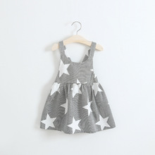 Girl Summer Dresses Children Strip Star Print Princess Blackless Cotton Dress 2017 Baby Kids Clothing Kids Dress