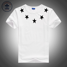 2017 simple style summer casual simplicity pattern star men t shirt