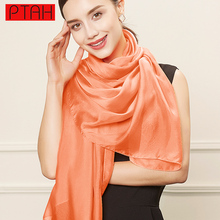 PTAH Oversized Solid Pure Silk Long Scarves For Ladies Fashion Accessories Luxury Brand Summer Satin Shawl Hijab Bufandas PT509
