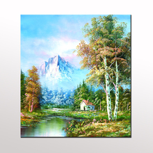 Unframe Wall Painting River Mountain Snow Scenery Canvas Painting Home Decoration Wall Pictures For Living Room Wall Decor LZ001(China)
