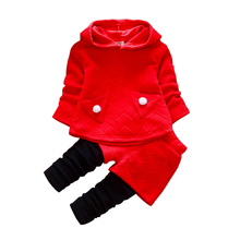 Autumn Winter Christmas 2017 Girl Suit For Baby Girl Casual Children Clothes Girls Kids Wear Set With Hooded Children's Clothing(China)