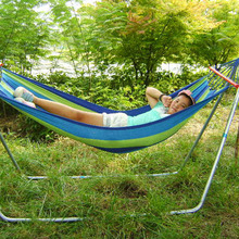 Color Stripe Outdoors Canvas Hammock with Wooden Club for Traveling Bushwalking Camping Hammock Single-person Sleeping Hamak(China)