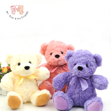 22CM Teddy Bear Plush Toys Stuffed With Bow tie Animals Purple Kawaii Little Bear Soft Kids Toys for Children Gifts Home Decor(China)
