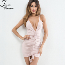 Buy Jessie Vinson Women Sexy Dress Deep V-neck Sleeveless Backless Bandage Dress Ruched Pack Hip Party Dress Summer Casual Vestidos for $12.99 in AliExpress store