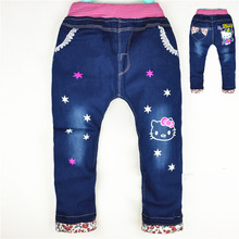 Spring Autumn Baby Girls Boys Pants Kids Jeans Minnie Trousers Leggings Pants cute rabbit Jeans Children Kitty Denim Pants(China)