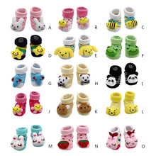 Wholesale Baby Socks Anti-Slip Cotton Newborn Infantil Baby Sock Cartoon Animal Slippers Boots Unisex Boy Girl Socks Rubber Sole(China)