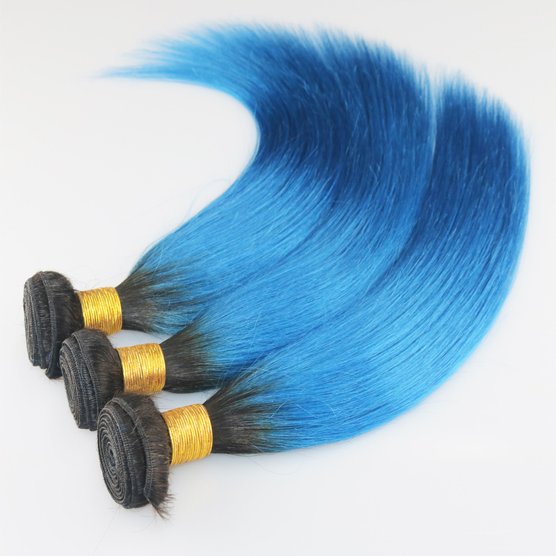 1b/blue Straight Hair Ombre Brazilian Hair Weft Weave Ombre Blue Straight Hair Extension Black Blue Straight<br><br>Aliexpress