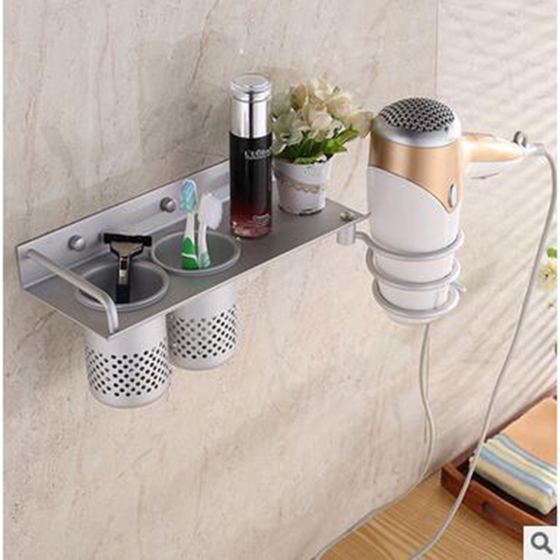 2017 The latest Multifunctional Space Aluminum Hairdryer Frame Bathroom Racks Or Shelf To The Shower Or Toothbrush Holder LCY<br><br>Aliexpress