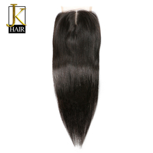 JK Lace Closure Remy Brazilian Straight Human Hair Closure 4 x 4 Middle Part 1 Bundle Pre Plucked With Baby Hair Bleached Knots(China)