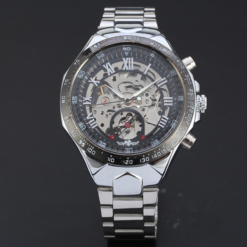 Russian Skeleton Automatic Men Watches Silver Stainless Steel Clock Wrist Watch wholesale<br><br>Aliexpress