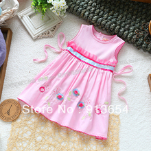 Free shipping Sale new 2013 summer baby clothes girls dress sleeveless dress for the children embroidery flower princess dress(China)