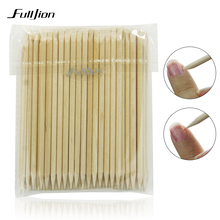 Fulljion Nail Brush 100pcs/set Nail Art Nail Art Decorations Wood Stick Cuticle Pusher Remover Pedicure Manicure Tools(China)