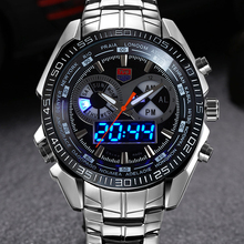 Mens Watches Top Brand Luxury TVG Sport Quartz Clock Digital LED Watch Army Military Male Steel Wrist watch Relogio Masculino